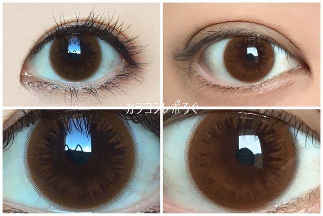 ライトブラウン(ワンデーゼルモイスチャー)黒目と茶目発色の違い比較