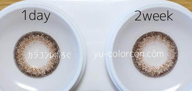 ネオサイト2ウィーク&ワンデー シエルブラウン レンズの違い比較