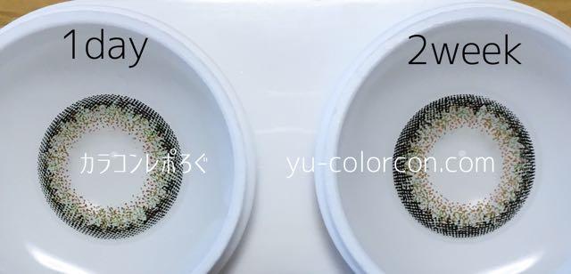 ネオサイト2ウィーク&ワンデー シエルグリーン レンズの違い比較