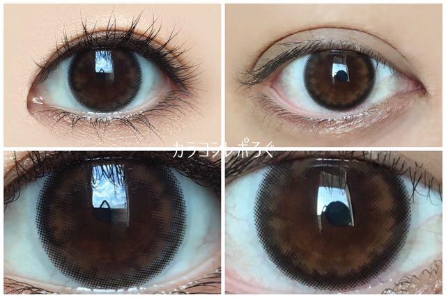 アコルデ ベーシックブラウン 黒目と茶目発色の違い比較(リニューアル版)
