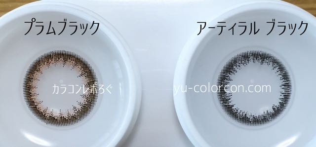 アンヴィプラムブラック&アーティラルUVMブラック レンズの違い比較